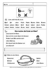 b oder d in der Grundschule - Leseübungen zu Buchstaben ...