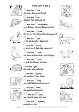 Arbeitsblatt in der Grundschule - Tier-ABC-Texte - ABC - Übungen ...