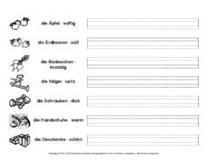 Arbeitsblatt in der Grundschule - Adjektiv-Endungen - Adjektive ...