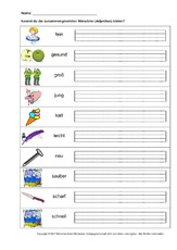 Arbeitsblatt In Der Grundschule Zusammengesetzte Adjektive