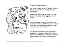 Vögel im Winter - Wintergeschichten - Fehlerlesen - Lesegenauigkeit ...