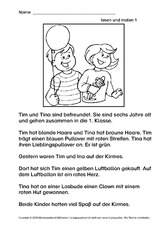 lesen und malen lesen deutsch klasse 2. Black Bedroom Furniture Sets. Home Design Ideas