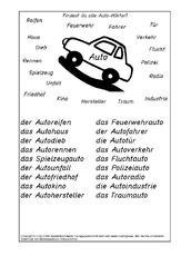 Auto arbeitsblatt in der grundschule for Raumgestaltung lyrik