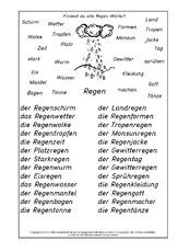 Regen (Arbeitsblatt) in der Grundschule - N-Z-Nomen zusammensetzen ...
