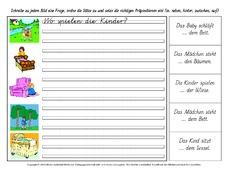 Arbeitsblatt in der Grundschule - Präpositionen - Deutsch Klasse 2 ...