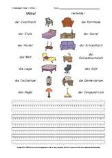 Möbel (Arbeitsblatt) in der Grundschule - Arbeitsblätter-Haus ...