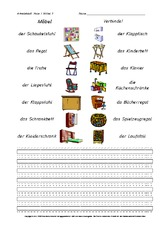 Möbel (Arbeitsblatt) in der Grundschule   Arbeitsblätter Haus