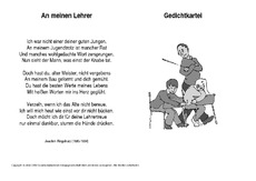 Lehrer gedichte grundschule