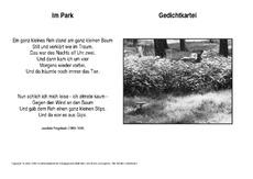 Gedicht von joachim ringelnatz im park