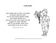 Gedicht Zum Muttertag In Der Grundschule Deutsch