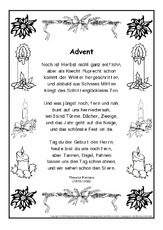 adventsgedicht in der grundschule. Black Bedroom Furniture Sets. Home Design Ideas