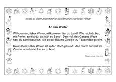 Weihnachtsgedichte Zum Abschreiben.Arbeitsblatt In Der Grundschule Schreiben Wintergedichte