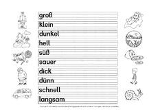 Arbeitsblatt in der Grundschule - Gegenteil - Adjektive - Grammatik ...