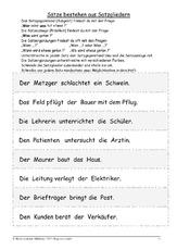arbeitsblatt in der grundschule satzglieder satzanalyse grammatik deutsch klasse 3. Black Bedroom Furniture Sets. Home Design Ideas