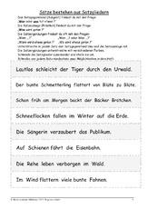 arbeitsblatt in der grundschule satzanalyse grammatik deutsch klasse 3. Black Bedroom Furniture Sets. Home Design Ideas