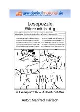 Arbeitsblatt in der Grundschule - Wörter mit b-d-g ...