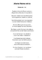 Arbeitsblatt in der Grundschule - Wörter mit ie - Rechtschreibfälle ...
