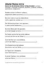 Reim in der Grundschule - Rechtschreibung - Deutsch Klasse 3 ...
