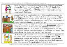Arbeitsblatt in der Grundschule - Pronomen einsetzen - Texte ...