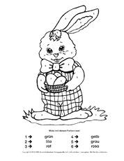 Arbeitsblatt In Der Grundschule Malen Nach Zahlen Ostern