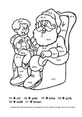 Rechnen und malen (Arbeitsblatt) in der Grundschule   Weihnachten