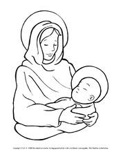 Ausmalbild Maria Jesus 1 Religiöse Motive Ausmalbilder