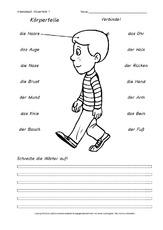 Arbeitsblatt in der Grundschule - Menschlicher-Körper - HuS Klasse 1 ...