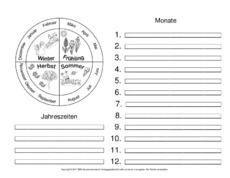 Monate (Arbeitsblatt) in der Grundschule - Die Jahreszeiten ...