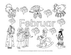 februar in der grundschule - ausmalbilder monate - die