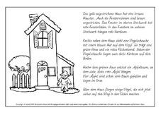 sinnerfassendes lesen arbeitsblatt in der grundschule hus klasse 2. Black Bedroom Furniture Sets. Home Design Ideas