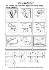 Arbeitsblatt in der Grundschule - AB-Wetterwörter - Wetter- Klasse 2 ...