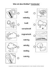 Arbeitsblatt in der Grundschule - AB-Zuordnung - Wetter- Klasse 2-3 ...