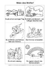 Arbeitsblatt in der Grundschule - AB-lesen und malen - Wetter ...