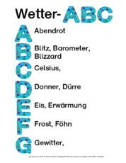Arbeitsblatt in der Grundschule - Wetter-ABC - Wetter- Klasse 2-3 ...