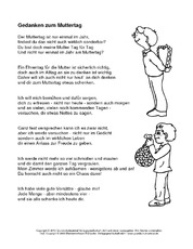 Muttertagsgedichte gedichte zum muttertag muttertag feste feiertage hus klasse 3 - Muttertag grundschule ...