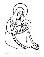 Ausmalbild Maria Jesus 3 Religiöse Motive Ausmalbilder