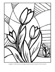 Ausmalbilder Mosaik Blumen Frühling Jahreszeiten Hus Klasse 3