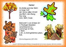 Herbstgedicht für Gestaltungsmaterial in der Grundschule