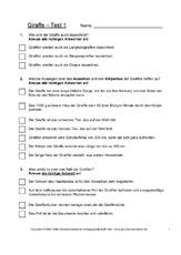 Textverständnis in der Grundschule - Giraffe - Sachtexte - Tiere ...