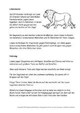 Arbeitsblatt in der grundschule l wen tiere for Raumgestaltung englisch