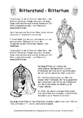 Arbeitsblatt in der Grundschule - Ritter-Ritterzeit - Mittelalter ...