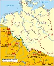 limes deutschland karte Limes in der Grundschule   Folien Karten   Römer in Deutschland  limes deutschland karte