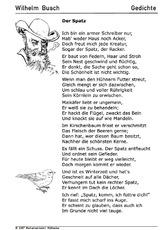 Gedichte Arbeitsbögen Wilhelm Busch Themen Und