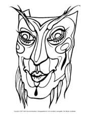 Masken In Der Grundschule Masken Ausmalbilder Bildende Kunst
