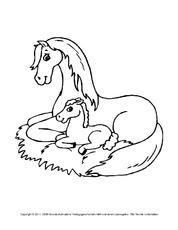 pferd in der grundschule - tiere zum ausmalen - ausmalbilder - bildende kunst - material klasse