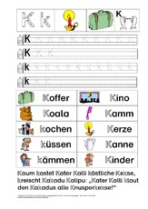 Buchstabe K (Arbeitsblatt) in der Grundschule - Grundschulmaterial.de