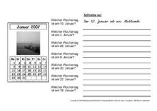 Arbeitsblatt für Einzelarbeit in der Grundschule - Kalender ...