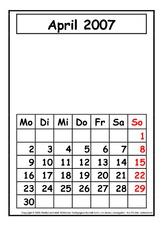 Arbeitsblatt in der Grundschule - Kalender - Material Klasse 2 ...