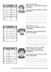 Kalender in der Grundschule - Arbeitsblätter - Kalender 2008 ...