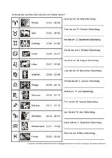 Sternzeichen (Arbeitsblatt) in der Grundschule - Kalender - Material ...